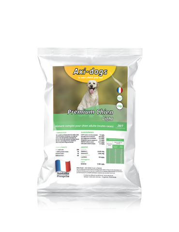 Croquettes Premium Light Chien adulte - 4kg - AxiDogs